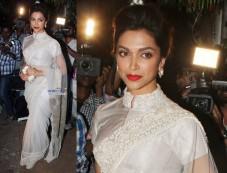 Deepika In White Saree Photos