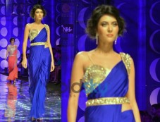 Navy Blue Saree-Style Gown Photos