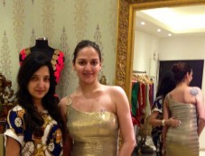 Esha Deol at Fittings at Amy Billimoria In Antique Sequined Gold Gown Photos