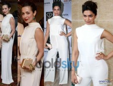 Malaika Arora Khan And Deepika Padukone In Same White Round Collar Neck Photos