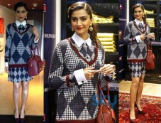 Sonam Kapoor In checkered outfit at the launch of Tommy Hilfiger Fall Holiday collection Photos