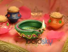 Green Painted Diya Photos