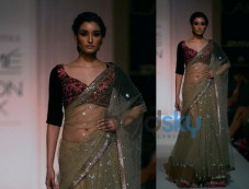 Light Grey Sequinned Lehenga Saree Photos