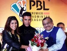 Akshay Kumar And Nirmit Kaur During In Premier Badminton League Photos