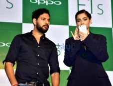 Yuvraj Singh And Sonam Kapoor During The Launch Of Oppo F1S Smartphone Photos
