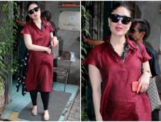 Pregnant Kareena Kapoor Flaunts Her Baby Bump In Red Kurta Photos