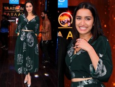 Shraddha Kapoor Looking Pretty In Green And Silver Outfit For Movie Promotions Photos