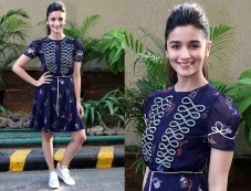 Alia Bhatt Wearing Tommy Xgigi And Clerk Shoes For Dear Zindagi Promotions Photos