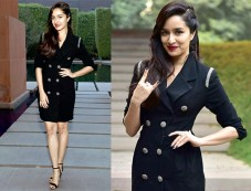 Shraddha Kapoor In Black Coat Dress For Rock On 2 Promotions Photos