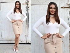 Sonakshi Sinha In Beige Skirt For Force 2 Promotions Photos