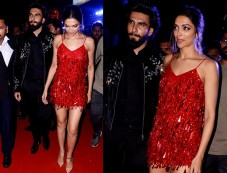 Deepika Padukone Looks Hot In Red With Ranveer At xXx Party Photos