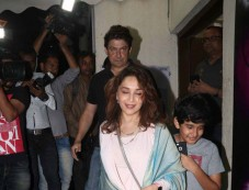Varun Dhawan And Madhuri Dixit With Family Spotted At PVR Juhu Photos