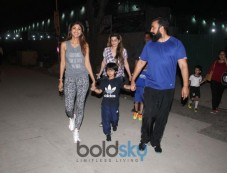 Shilpa Shetty With Her Family Spotted At Football Ground Juhu Photos