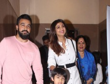 Raj Kundra And Shilpa Shetty Snapped With Her Mother At PVR Juhu Photos