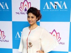 Anna Hazare And Tanishaa Mukerji During The Poster Launch Of Film Anna