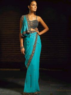 Traditional blue in sping saree