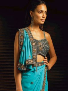 Sky blue designs in a saree
