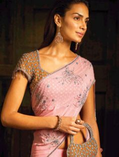 Pink saree doted with silver
