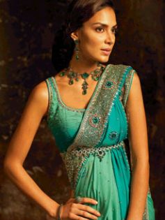 Peacock Designs with stones on Saree
