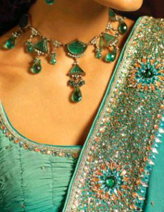 Saree embroidered with rich stones