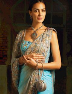 Glass works on blue-grey saree