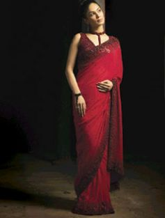 Eternal red and black Saree