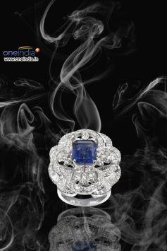 Diamond Ring with Blue Sapphire