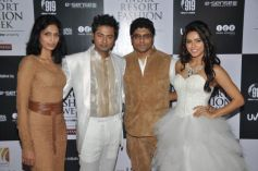 Actors Bhoop and Madhurima with Designer duo Riyaz and Reshma Gangji