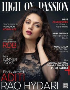 Aditi Rao Hydari on the cover of Hign On Passion - April