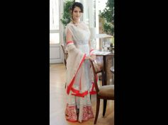White & Neon Red Lehenga