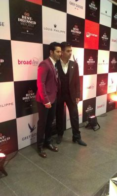 Varun Dhawan and Karan Johar at GQ's Best Dressed Men 2013 Party
