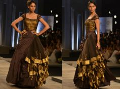 Black n Gold Pleated Gown