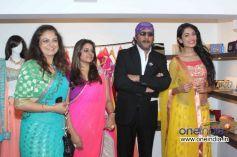 Fashion designer Shouger Merchant with Bollywood actors Sarah-Jane Dias and Jackie Shroff