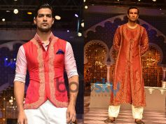 Red Sleeveless Jacket n Loose Brown Kurta
