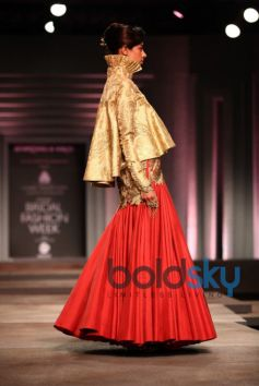 Red Lehenga With Golden Jacket