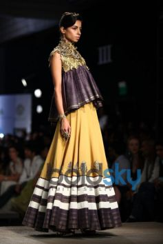 Yellow & Charcoal Black Lehenga