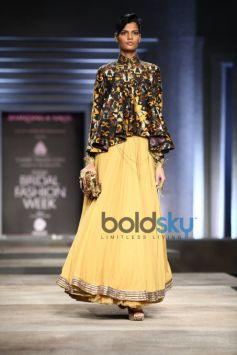 Yellow Skirt & Printed Blouse