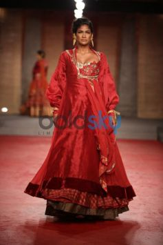 Red Silk Anarkali Gown