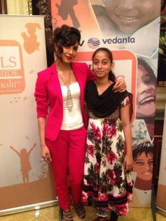 Priyanka Chopra snapped with a audience during NDTV-Vedanta Our Girl Our Pride campaign launch
