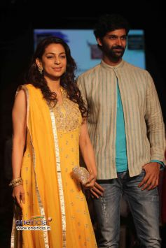 Juhi Chawla walks the ramp at Lakme Fashion Week Winter/Festive 2013 Day 01