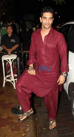 Angad Bedi at Olive Bar in red kurta