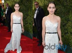 Emilia Clarke arrives at the 65th Primetime Emmy Awards at Nokia Theatre