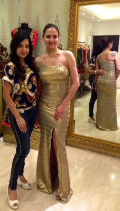 Esha Deol at Fittings at Amy Billimoria In Antique Sequined Gold Gown