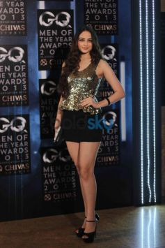 Model in her golden and black dress GQ Man of the Year Award 2013