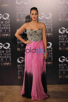 Bollywwod Actress in her pink and checks costume at GQ Man of the Year Award 2013