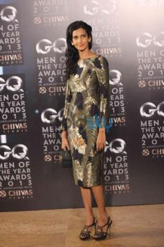 Model with pattern dress GQ Man of the Year Award 2013