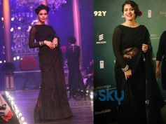 Kajol In plain black lace saree at Lakme Fashion Week 2013