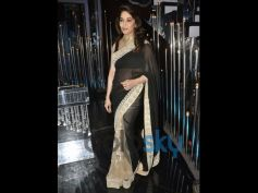 Madhuri Dixit Looked gorgeous in black and creamy white coloured saree
