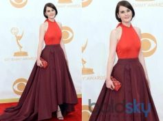 Michelle Dockery, in Prada, arrives at the 65th Primetime Emmy Awards