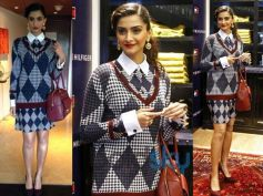 Sonam Kapoor In checkered outfit at the launch of Tommy Hilfiger Fall Holiday collection